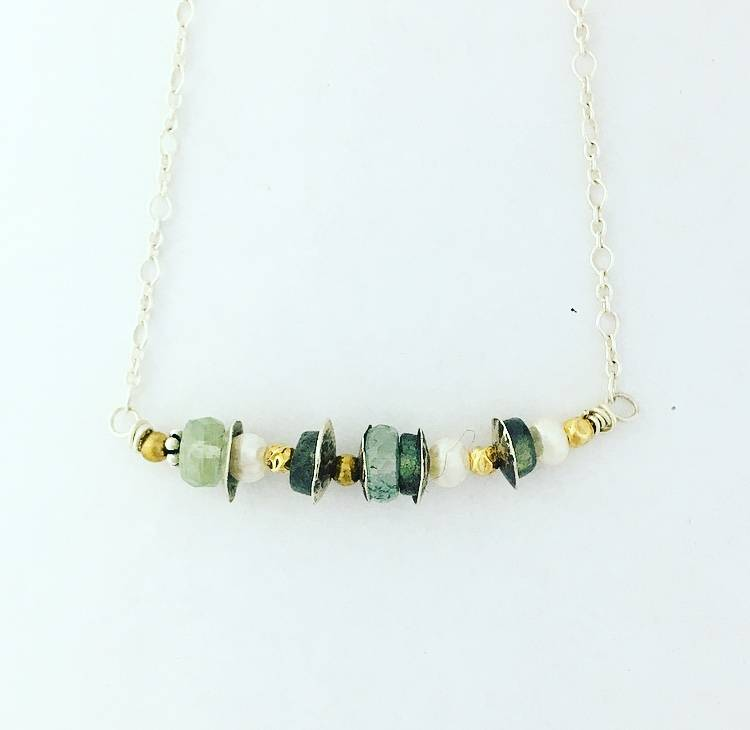 Pax Sterling Silver Stationed Necklace with Labradorite, Fresh Water Pearl and Aquamarine