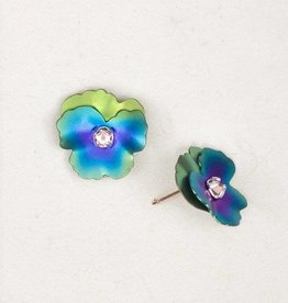 Holly Yashi Green Pansy Post Earrings