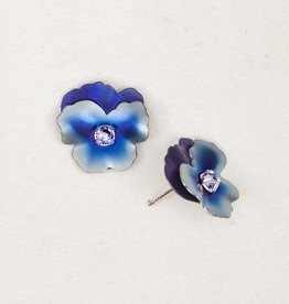 Holly Yashi Blue Pansy Post Earrings