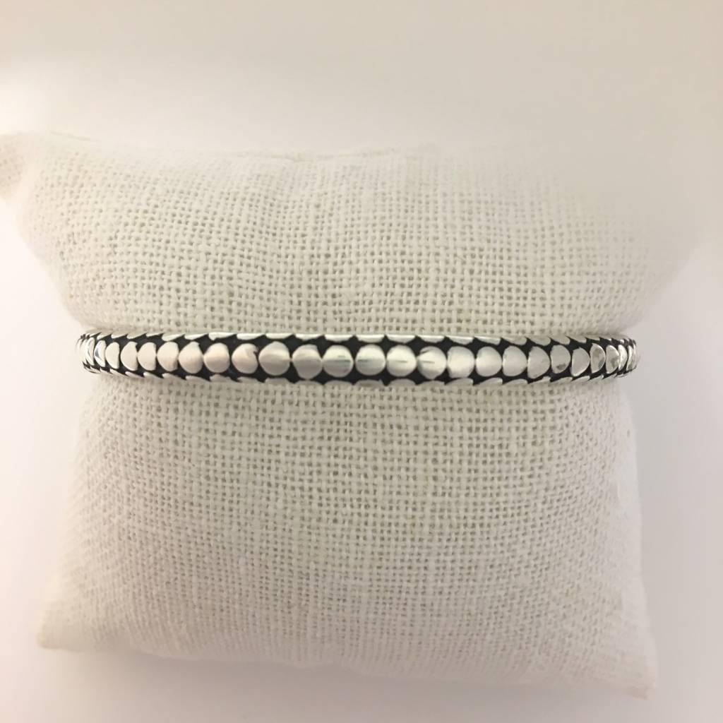 M Style Sterling Silver Oxidized Dotted Bangle