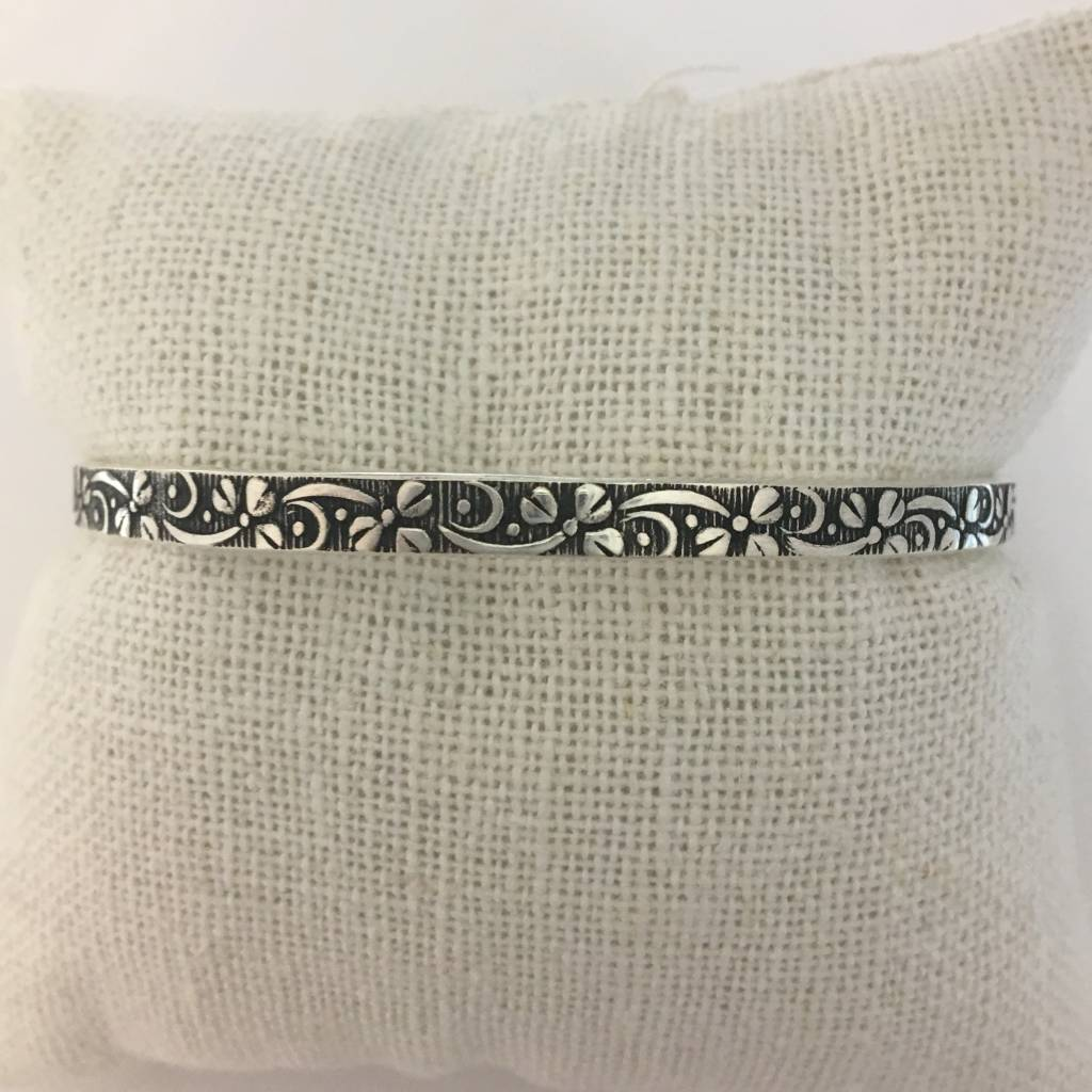 M Style Sterling Silver Flowing Flowers Bangle