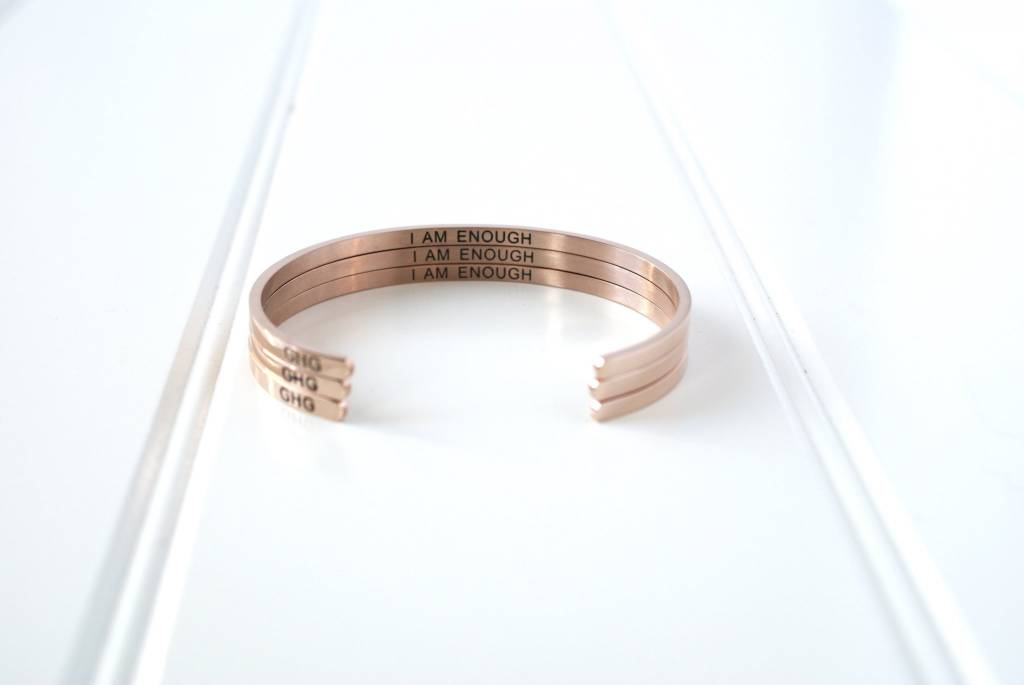 Glass House Goods Inner Voice Bangle: You Are Enough -Rose Gold