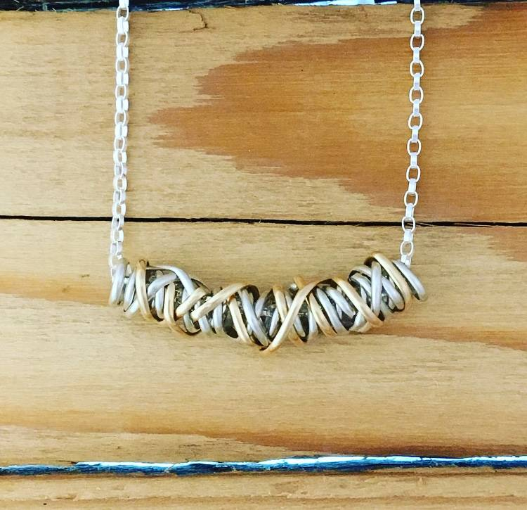 """Dianne Rodger Dual Tone Small Twist Necklace 18"""""""