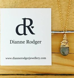 """Dianne Rodger Small Petal Necklace- Labradorite, 14 Kt Yellow Gold Fill, 18"""""""
