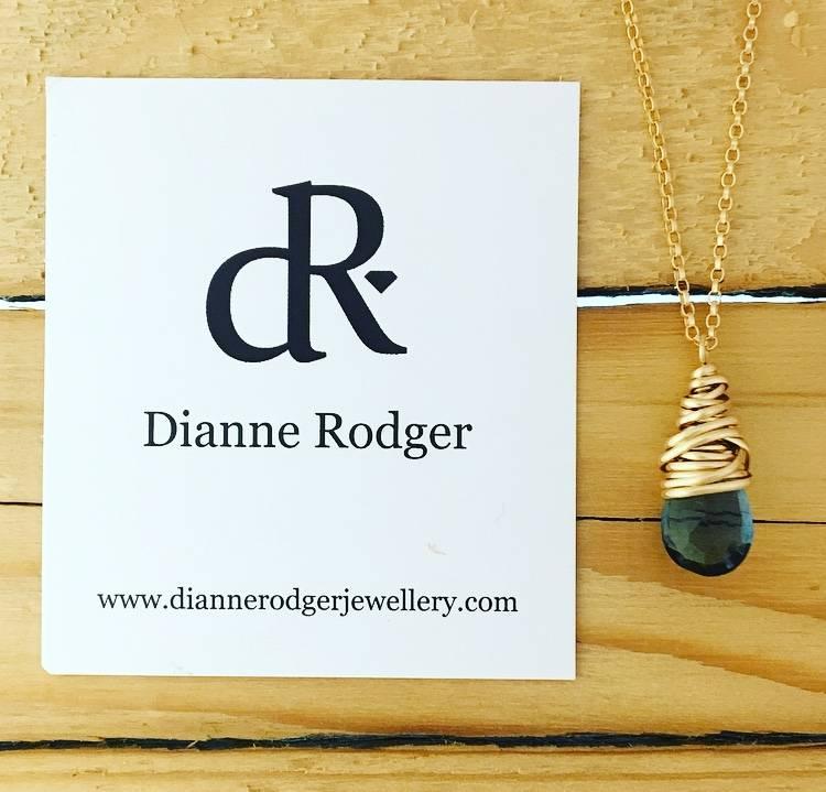 "Dianne Rodger Small Petal Necklace- Blue Quartz, 14Kt Gold Fill, 18"""