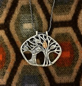 Shablool Sterling Silver Tree of Life Pendant with Rose Gold Leaf 18""