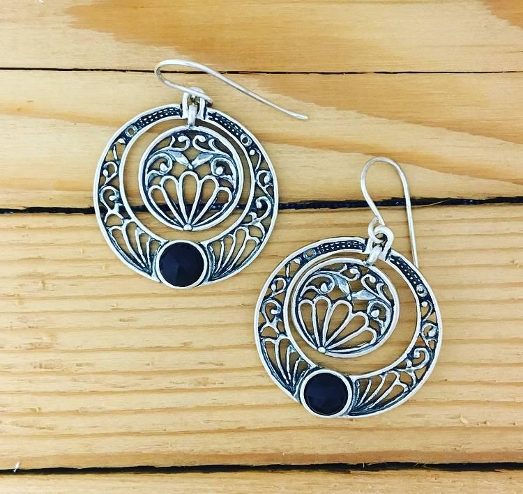 Shablool Circle Dangle Earring with Black Onyx