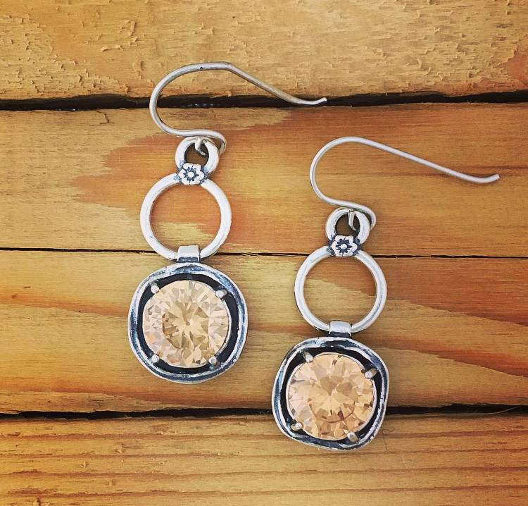 Shablool Sterling Silver Swarovski Crystal Drop Earring
