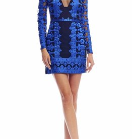 Nicole Miller Nicole Miller Long Sleeve Illusion Dress