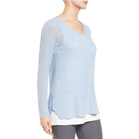 Eileen Fisher Organic Linen Knit V-Neck Top