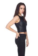My Tribe Crop Leather Top