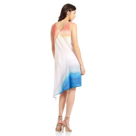 Ecru Asymmetrical Hem Dress