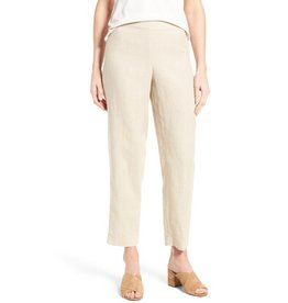 Eileen Fisher Organic Linen Ankle-Length Straight Pant