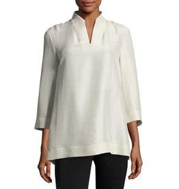 Eileen Fisher High-Collar Doupioni Silk
