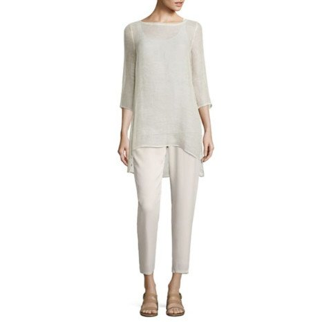 Eileen Fisher Eileen Fisher Organic Linen Mesh 3/4-Sleeve Tunic