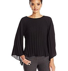 Nicole Miller Nicole Miller Pleated Long Sleeve Top