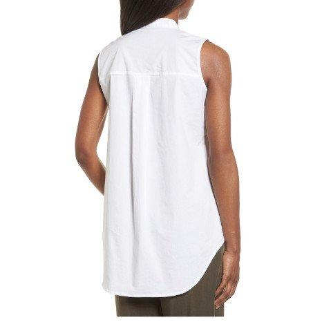 Eileen Fisher Eileen Fisher Organic Cotton Stretch Poplin Mandarin Collar Shirt