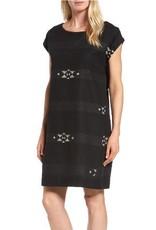 Eileen Fisher Eileen Fisher Folklore Cotton Jacquard Bateau Neck Cap-Sleeve Dress