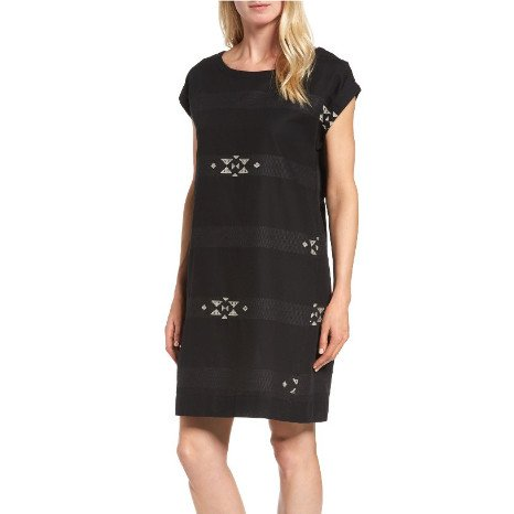 Eileen Fisher Eileen Fisher Folklore Cotton Jacquard Bateau Neck Cap-Sleeve Dress