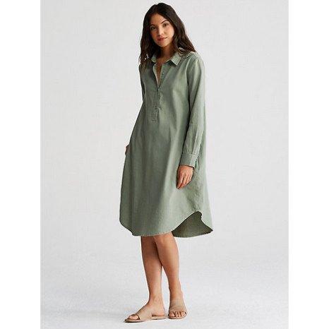 Eileen Fisher Eileen Fisher Classic Collar Henley K/L Shirt Dress