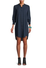 Eileen Fisher Eileen Fisher Mandarin Collar Silk Shirtdress