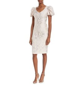 Theia Theia Puffed-Sleeve Jacquard Dress