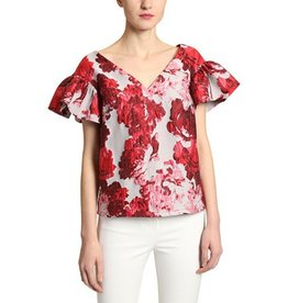 Badgley Mischka Badgley Mischka Brocade Flounce Sleeve Top