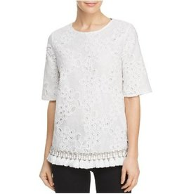 Badgley Mischka Badgley Mischka Embellished Lace Top