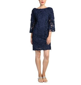 Badgley Mischka Badgley Mischka Lace Bell Sleeve Dress