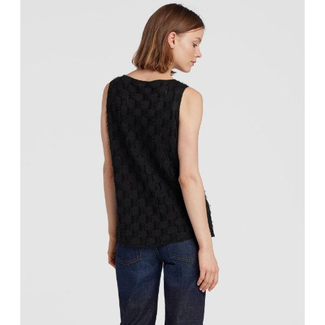 Eileen Fisher Eileen Fisher Sheer Hemp Shell W/ Fringe
