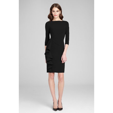 Teri Jon Teri Jon Crepe Side Drape Dress