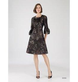 Bigio Bigio Floral Jaquared Dress W/ Bell Sleeve