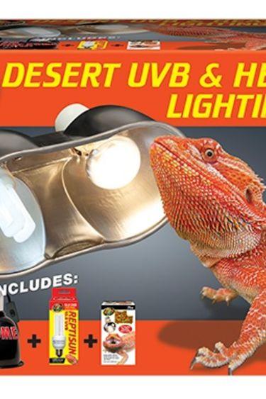 Zoomed Ensemble d'eclairage UVB et chaleur desert