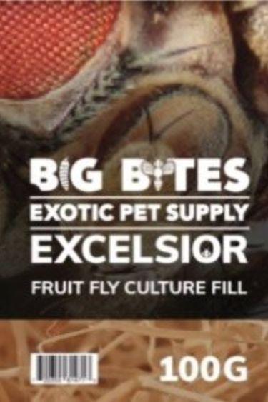 Big Bites Excelsior 100g remplissage  pour culture de mouche a fruit