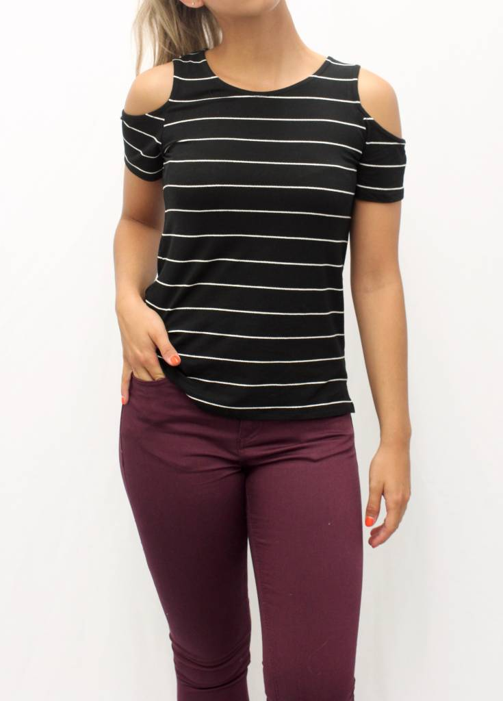 87e86a496669c Dex Dex Stripe Cold Shoulder Tee ...