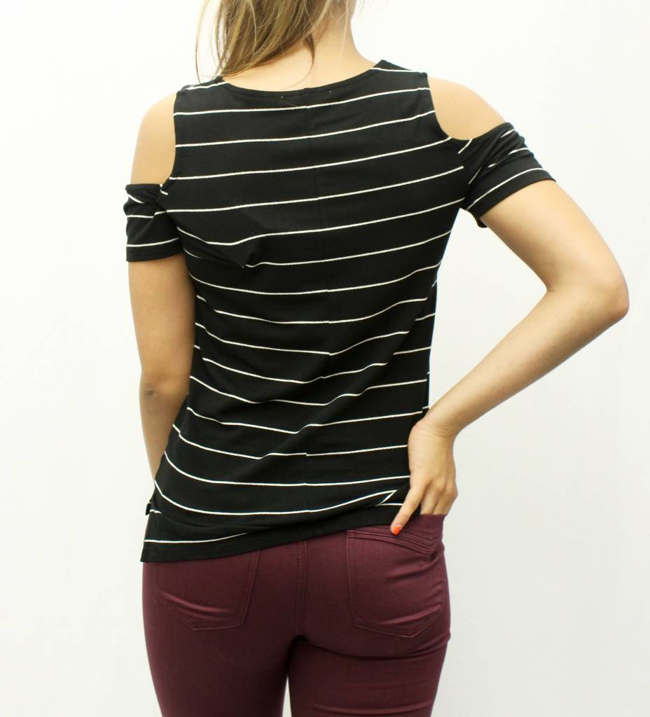 10de06460f03a ... Dex Dex Stripe Cold Shoulder Tee