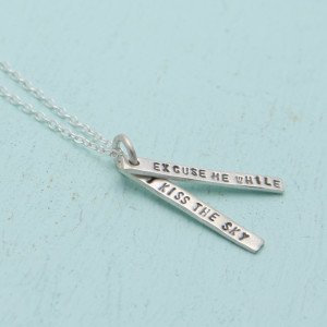Chocolate and Steel Quotes Jimi Hendrix Necklaces - Silver