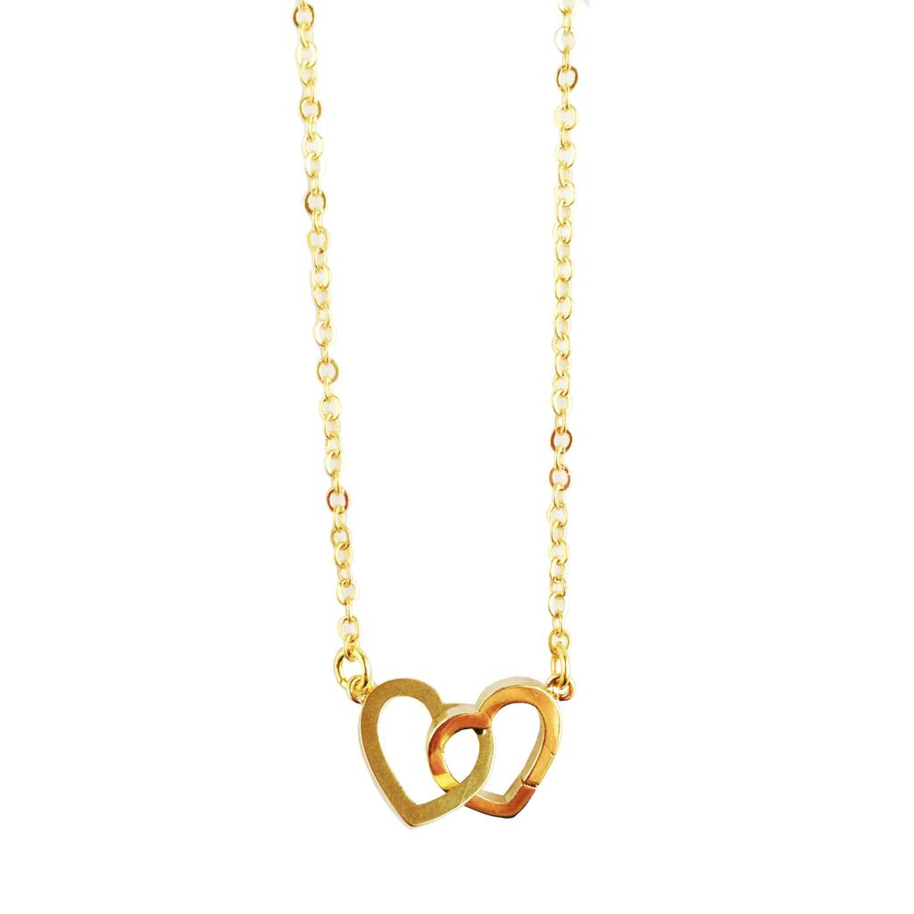Rebecca Two Hearts Necklace - Gold