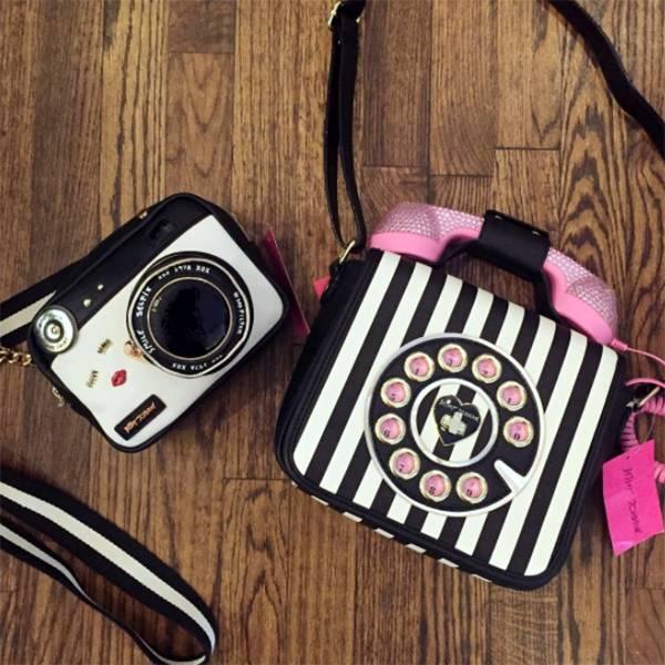 Betsey Johnson Betsey Johnson Phone Bag- Stripe blk/red