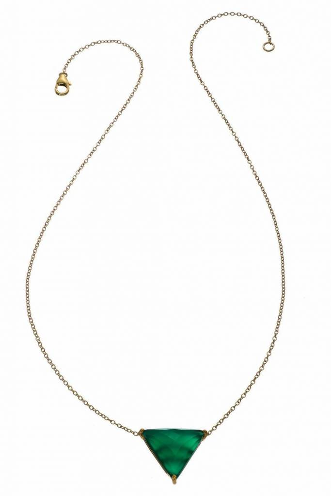 Heather Hawkins Bermuda Necklace - Green Onyx on 14K Yellow Goldfill Chain