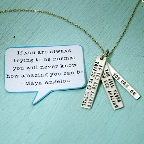 Chocolate and Steel Quotes Maya Angelou Necklace - Silver