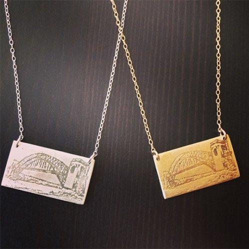"J. Topolski Hellgate Bridge 18"" Necklace - Brass"