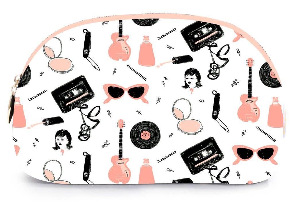 Printed Village Rounded Cosmetic Bag - Pink Ladies