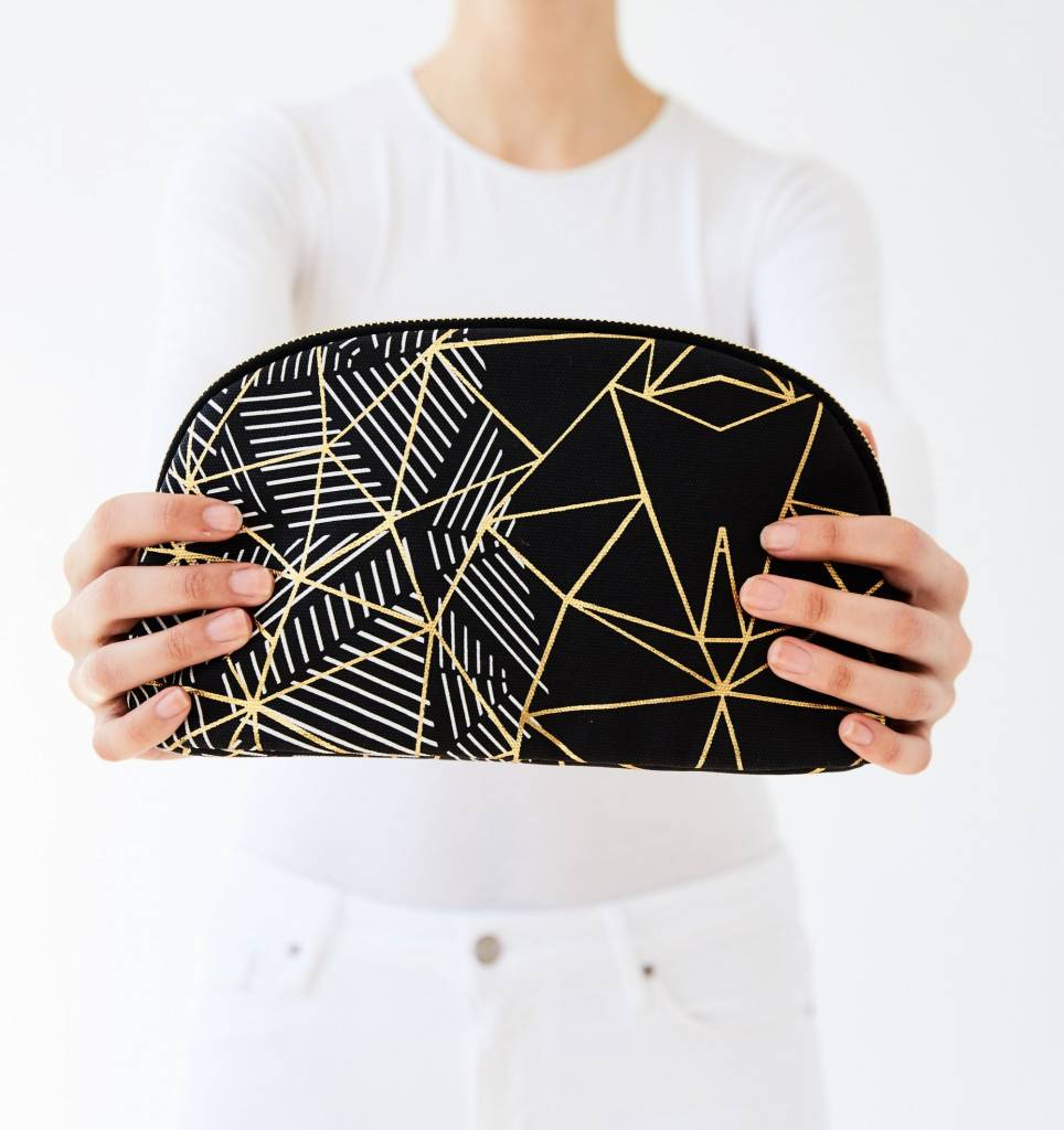 Printed Village Rounded Cosmetic Bag - Triangle Outline