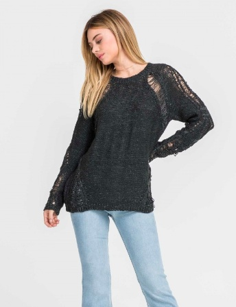 Lush Ripped Sweater - Charcoal
