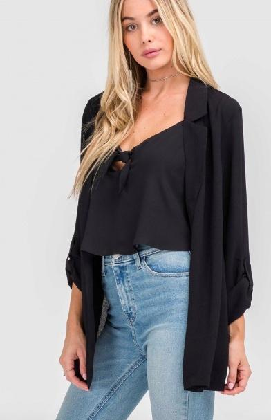 Lush Sheer Loose Blazer - Black