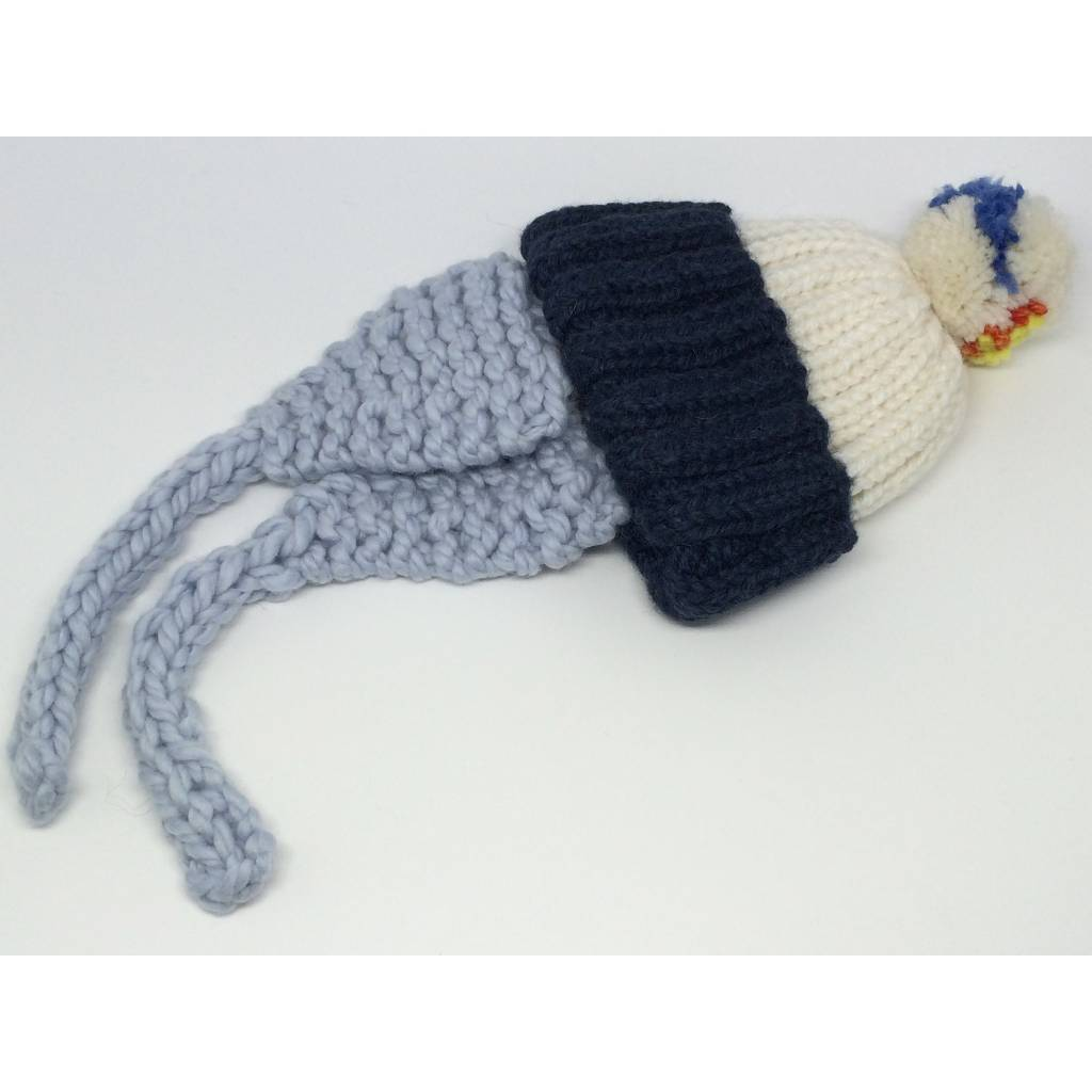 Baby Degen Baby Degen Hat w/ Flap & Pom Pom Blue & White