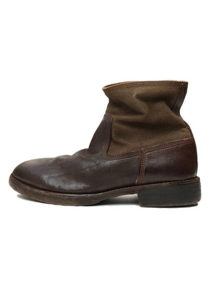 kapital Kapital Canvas and Distressed-Leather Boot