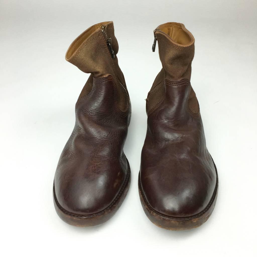 kapital Kapital Canvas and Distressed-Leather Boot