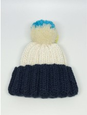 Baby Degen Baby Degen Hat with Pom Pom Blue & White